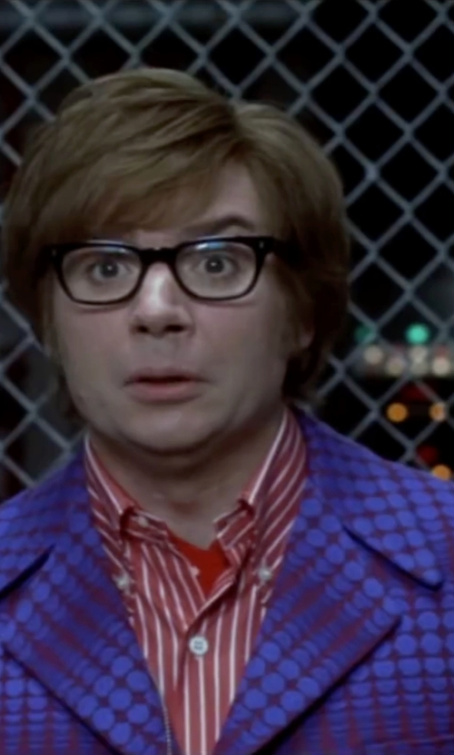 Mike Myers with Deena Appel (Costume Designer) Custom Made Bright Blue and Red Mod Design Suit in Austin Powers in Goldmember