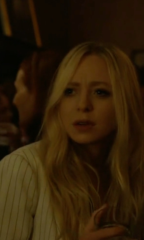 Portia Doubleday with ATM Anthony Thomas Melillo Linen Stripe Schoolboy Blazer in Mr. Robot