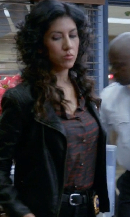 Stephanie Beatriz with Johnston & Murphy Artisan Stitch Belt in Brooklyn Nine-Nine