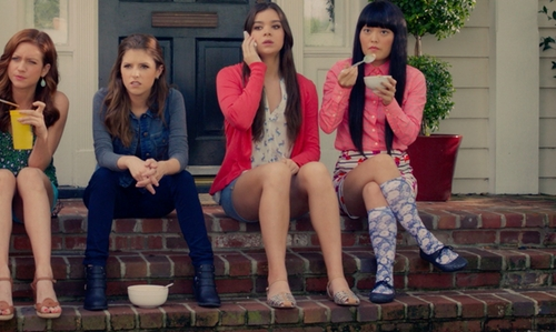 Hana Mae Lee with Foot Traffic Knee High Printed Sock in Pitch Perfect 2