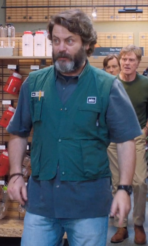 Nick Offerman with Quiksilver Wilsden Perennial Short Sleeve Modern Fit Shirt in A Walk in the Woods