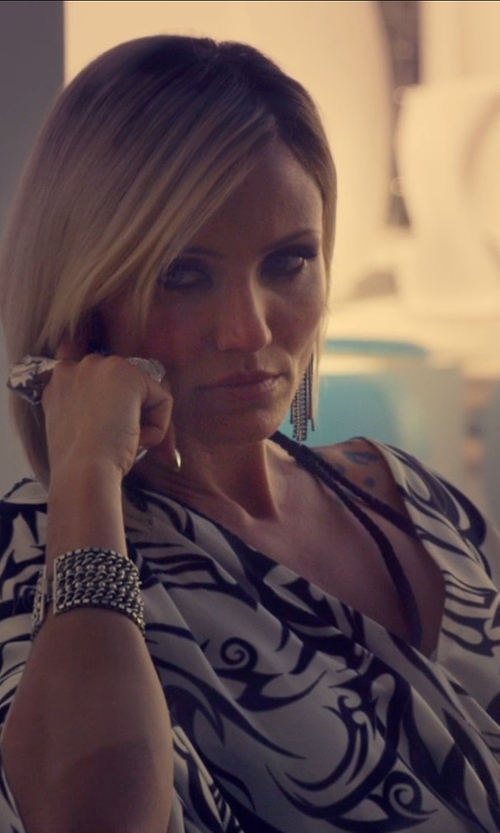 Cameron Diaz with Classic Chain Collection Black Ruthenium Plating Chandelier Earrings in The Counselor