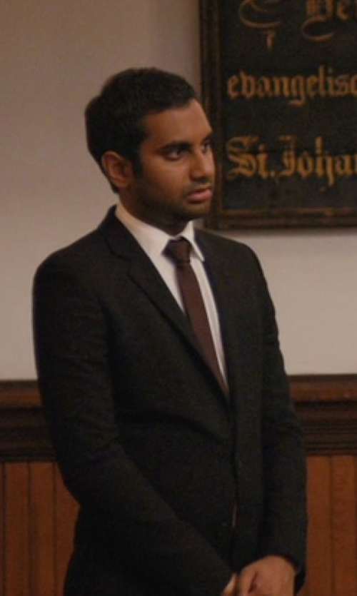 Aziz Ansari with Forzieri Solid Pure Silk Satin Silk Tie in Master of None