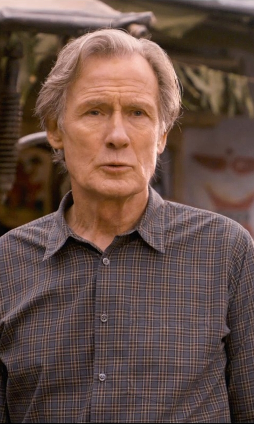 Bill Nighy with Brioni Plaid Shirt in The Second Best Exotic Marigold Hotel