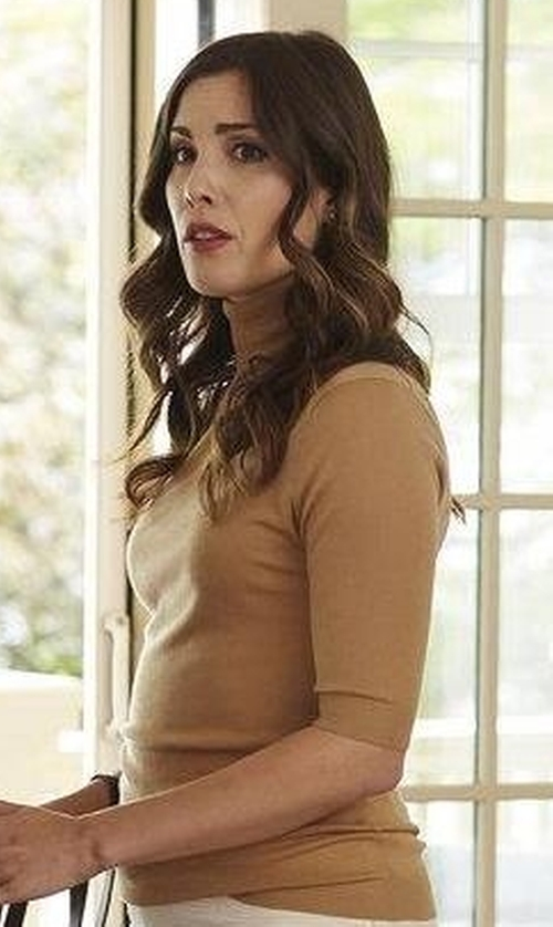 Carly Pope with Vince Cowlneck Wool Knit Top in Suits