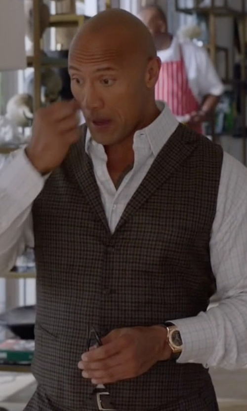 Dwayne Johnson with Salvatore Ferragamo Croc-Embossed Chronograph Watch in Ballers