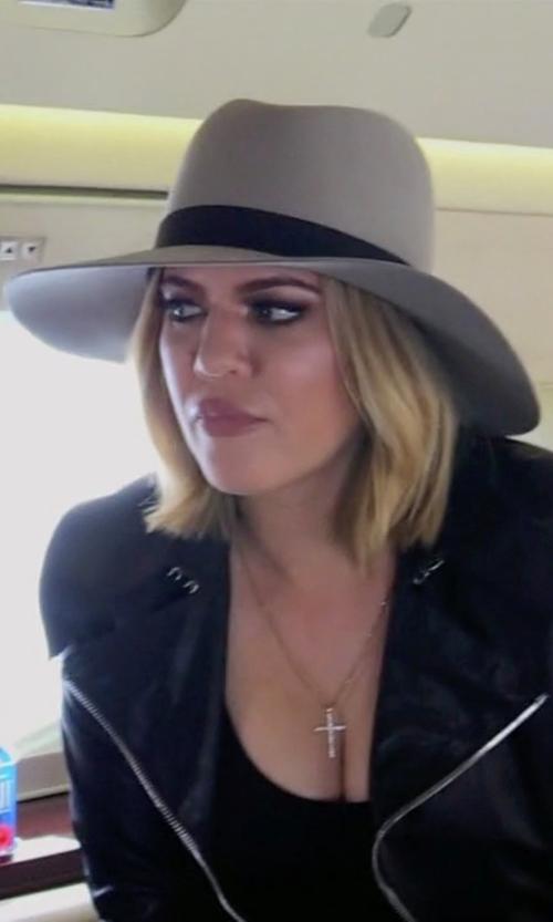 Khloe Kardashian with Maison Michel Virginie Swirl Rabbit Furfelt Fedora Hat in Keeping Up With The Kardashians