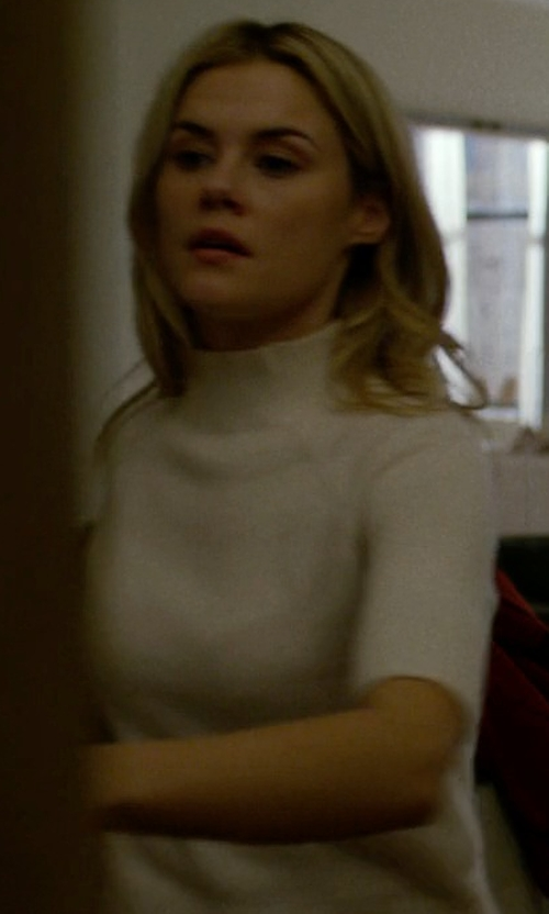Rachael Taylor with Catherine Catherine Malandrino Liza Short Sleeve Mock Neck Top in Jessica Jones