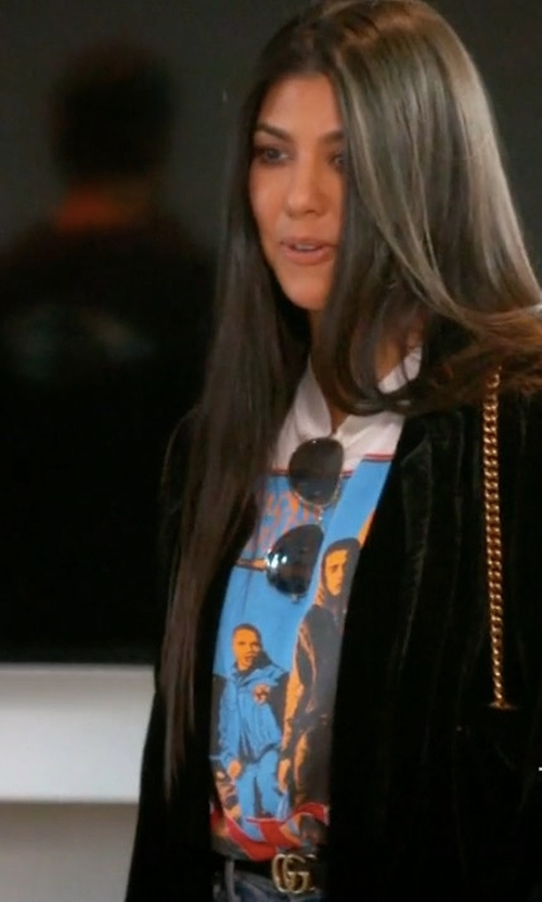 Kourtney Kardashian with Gucci Double G Buckle Leather Belt in Keeping Up With The Kardashians