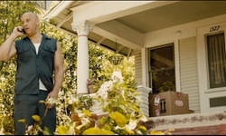 Vin Diesel with 722 E Kensington Rd (Depicted As Dominic Toretto's House) Los Angeles, California in Furious 7