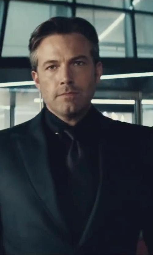 Ben Affleck with Gucci Custom Made Balck Solid Tie in Batman v Superman: Dawn of Justice