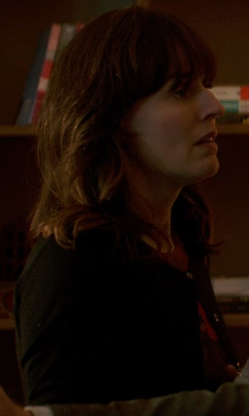 Rosemarie DeWitt with Pringle of Scotland Lightweight Cardigan Sweater in Poltergeist