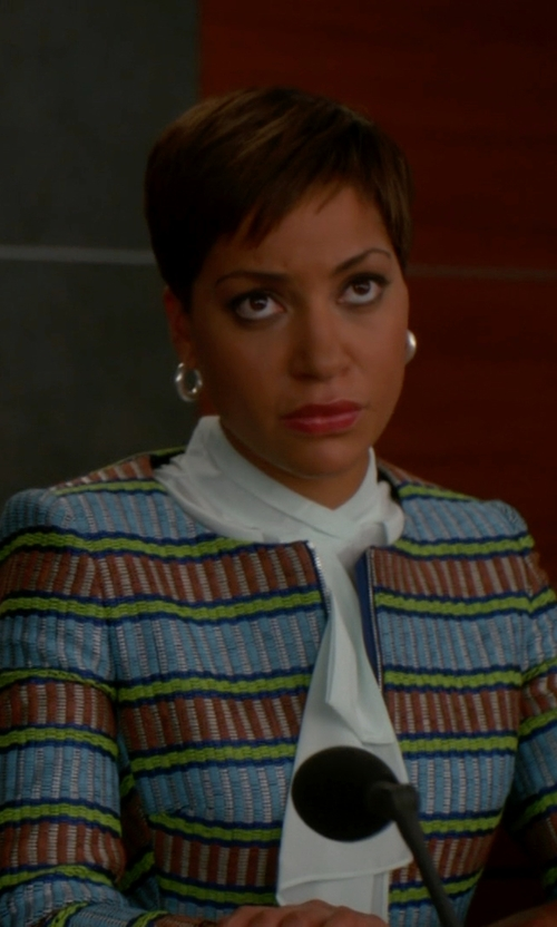 Cush Jumbo with St. John Collection Opulent Tweed Jacket in The Good Wife