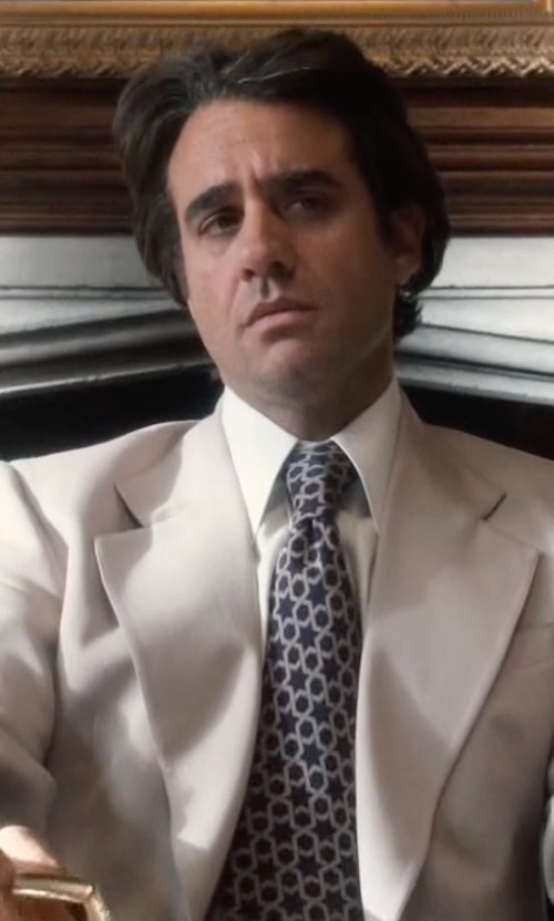 Bobby Cannavale with Drake's Micro-Circle-Pattern Necktie in Vinyl