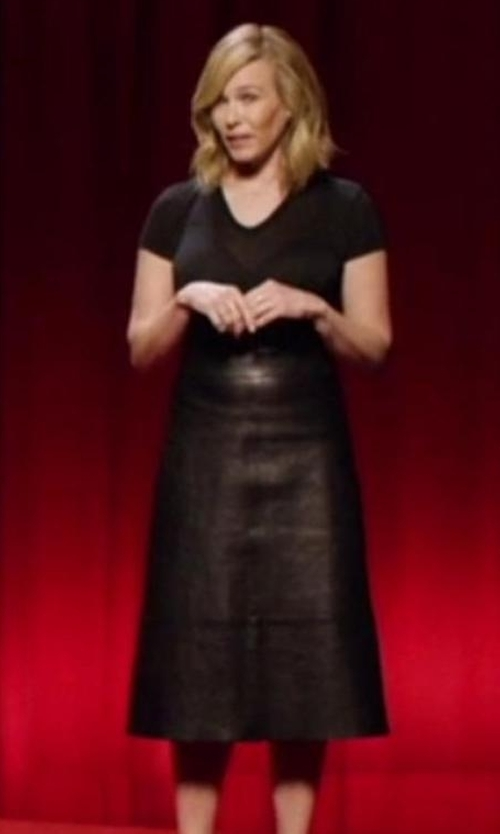 Chelsea Handler with Alexander Wang Leather A-Line Skirt in Chelsea