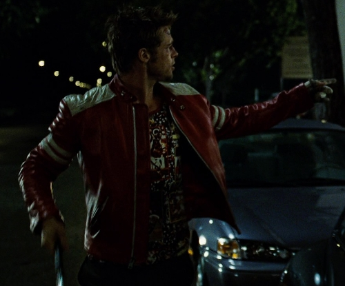 Brad Pitt with Skinsdesign Men's Leather Biker Jacket Mj146 in Fight Club