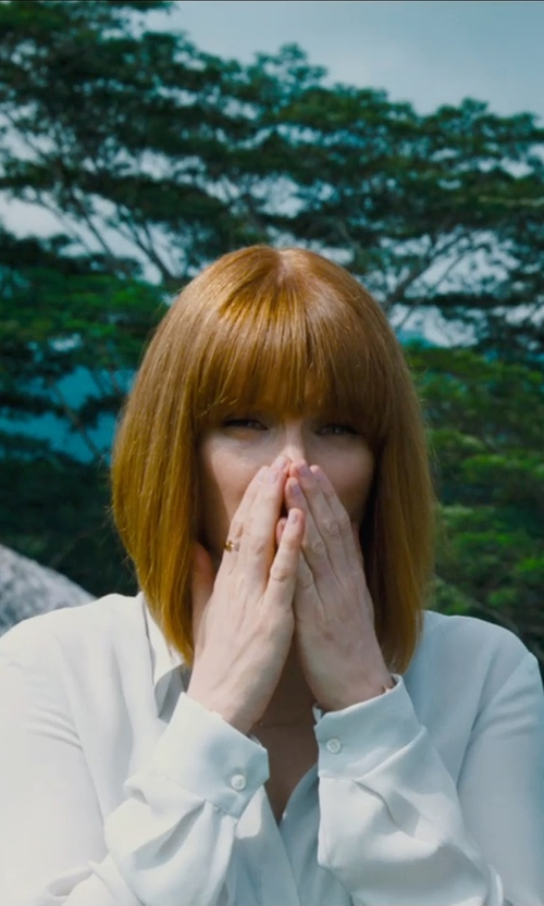 Bryce Dallas Howard with Sydney Evan Pave Diamond Cross Ring in Jurassic World