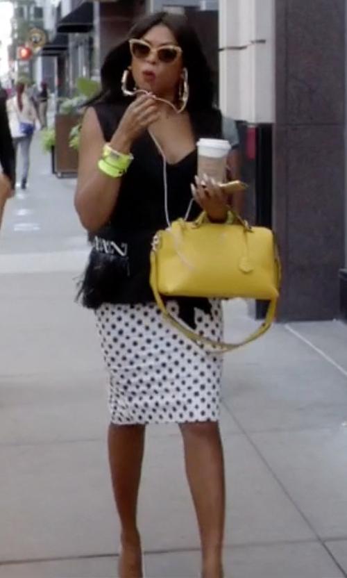 Taraji P. Henson with Ralph Lauren Tasha Wool Skirt With Polka Dots in Empire