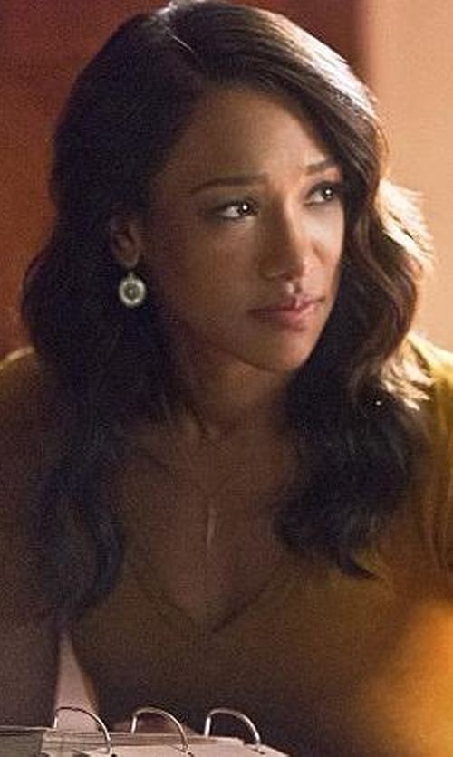 Candice Patton with Vince Camuto Crystal Dangle Hoop Earrings in The Flash