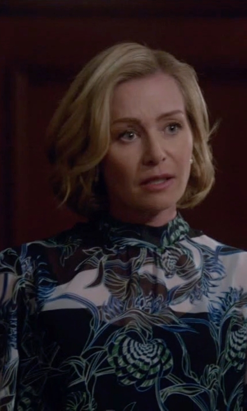 Portia de Rossi with Just Cavalli Ikebana-Print High-Collar Blouse in Scandal