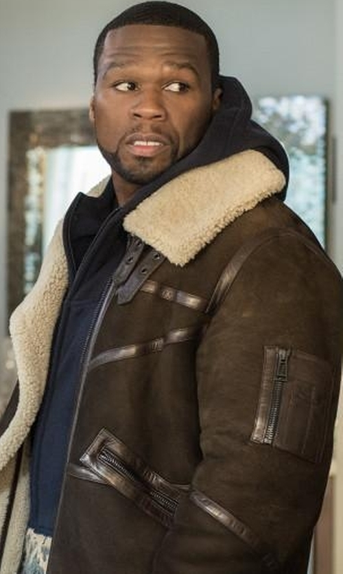 50 Cent with Cwmalls Men's Sheepskin Shearling Bomber Jacket in Power