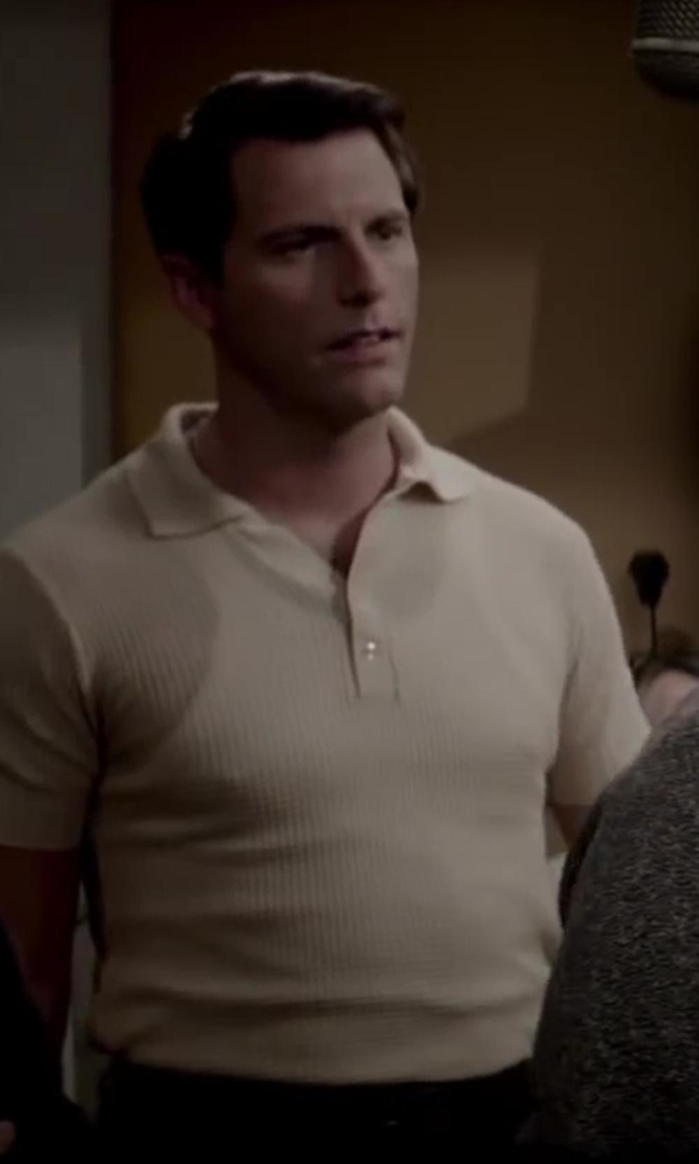 Michael Lomenda with Gold Label Roundtree & Yorke Knit Polo in Jersey Boys