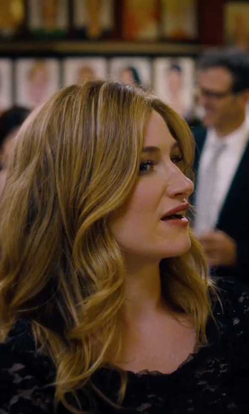 Kathryn Hahn with Adrianna Papell Long Sleeve Lace Sheath Dress in She's Funny That Way