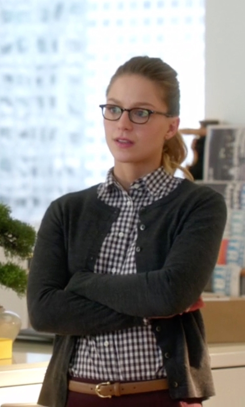 Melissa Benoist with J. Crew Mini Gingham Boy Shirt in Supergirl
