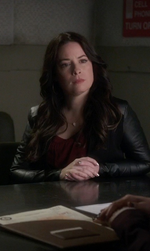 Holly Marie Combs with Azalea Asa V-Neck Blouse in Pretty Little Liars