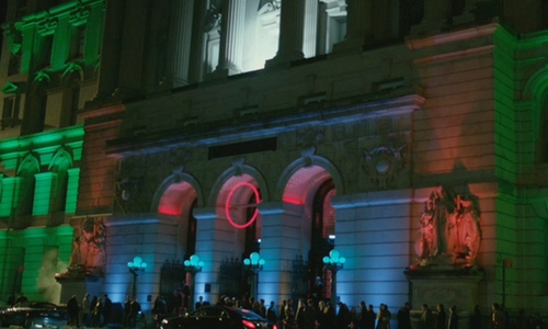 Keanu Reeves with Surrogate's Courthouse (Depicted as Red Circle Nightclub) New York City, New York in John Wick