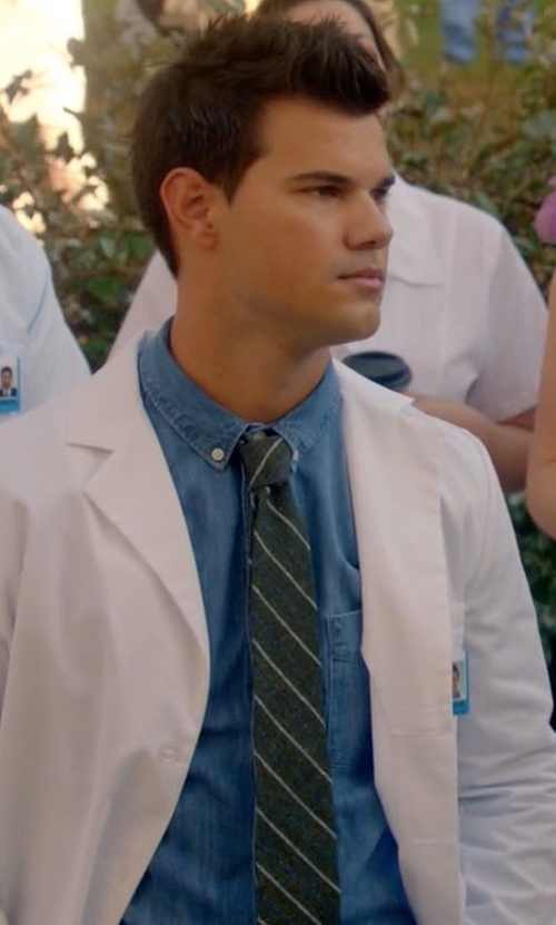 Taylor Lautner with Eton of Sweden Striped Wool & Silk Tie in Scream Queens