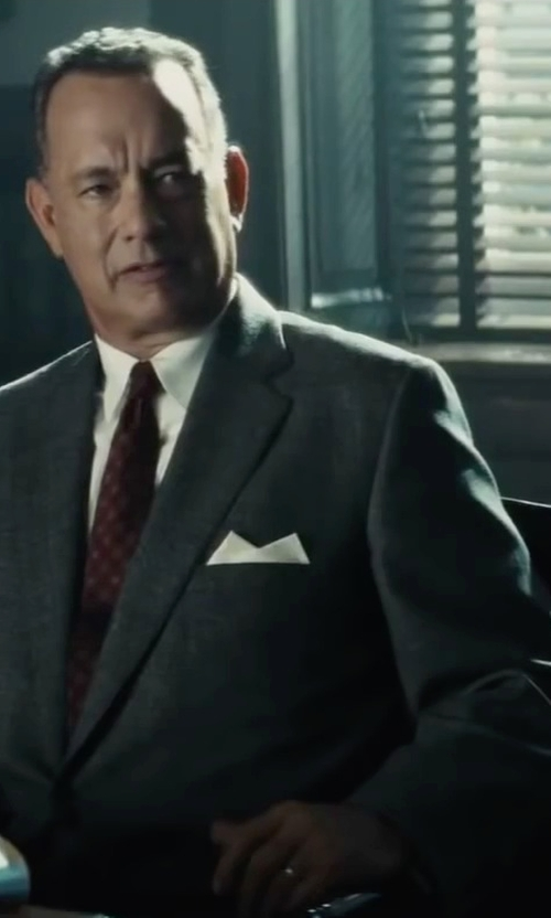 Tom Hanks with Brunello Cucinelli Houndstooth Two-Piece Wool Suit in Bridge of Spies