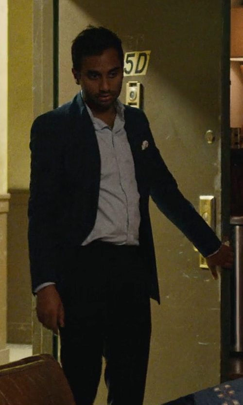 Aziz Ansari with Valentino Pleated-Front Slim-Leg Pants in Master of None