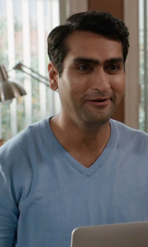 Kumail Nanjiani with Brooks Brothers Supima Cotton V-Neck Sweater in Silicon Valley