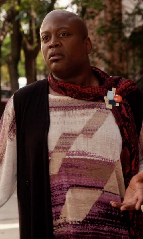 Tituss Burgess with Calvin Klein Geometric Colorblocked Sweater in Unbreakable Kimmy Schmidt