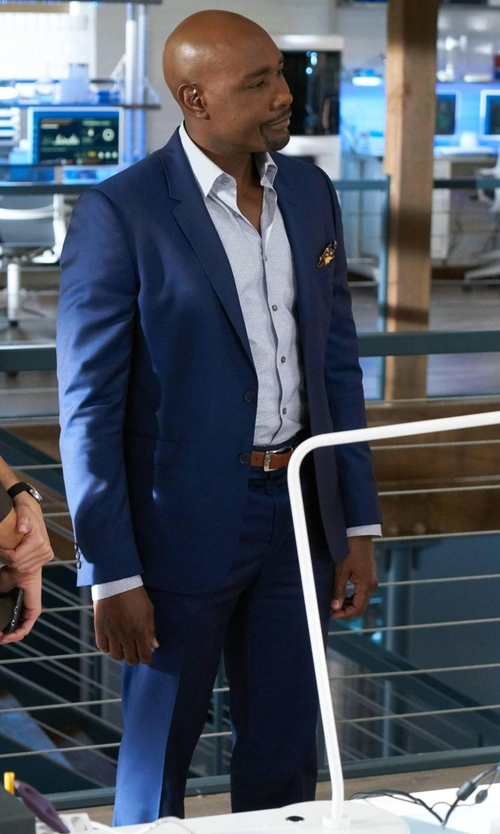 Morris Chestnut with Vince Camuto Blue Sharkskin Suit in Rosewood