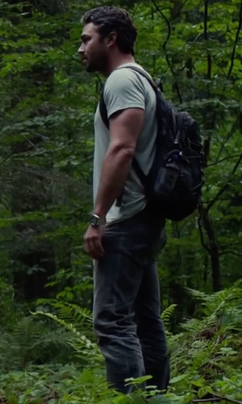 Taylor Kinney with Nudie Jeans Dark Wash Tape Ted Jeans in The Forest