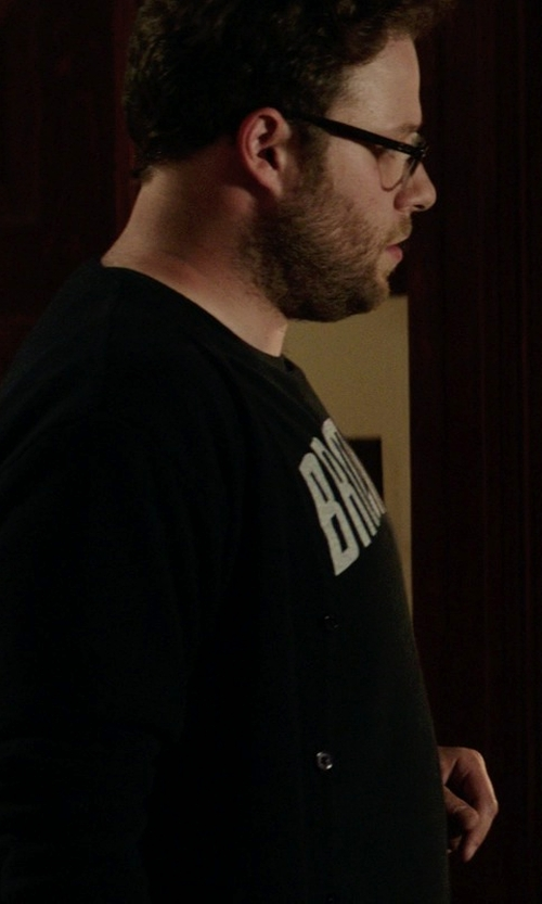 Seth Rogen with Calvin Klein Solid Merino Wool Cardigan Sweater in Neighbors