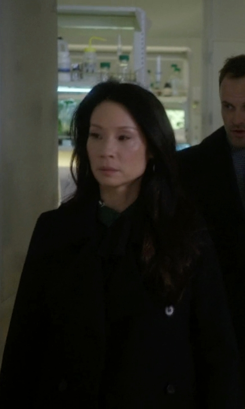 Lucy Liu with Theory Double Breasted Coat in Elementary