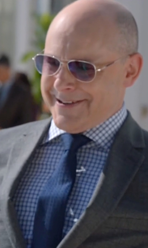 Rob Corddry with Burberry Textured Tonal-Check Knit Silk Tie in Ballers