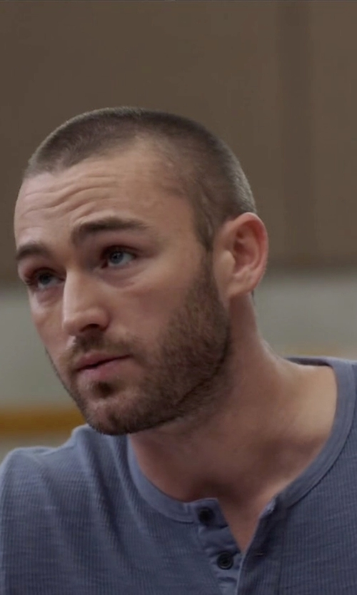 Jake McLaughlin with Scotch & Soda Long Sleeve Grandad Tee in Quantico