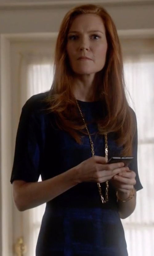Darby Stanchfield with Boss Hugo Boss Stretch Check Print Sheath Dress in Scandal