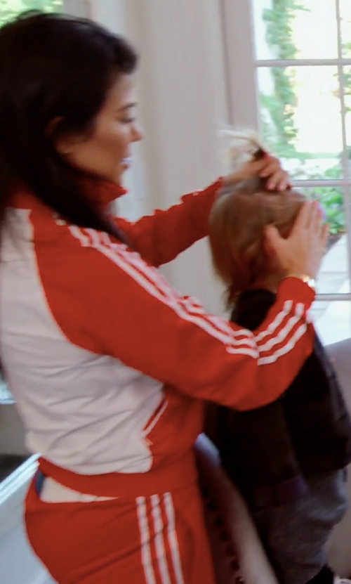 Kourtney Kardashian with Adidas Sandra 1977 Red Tracksuit Bottom in Keeping Up With The Kardashians