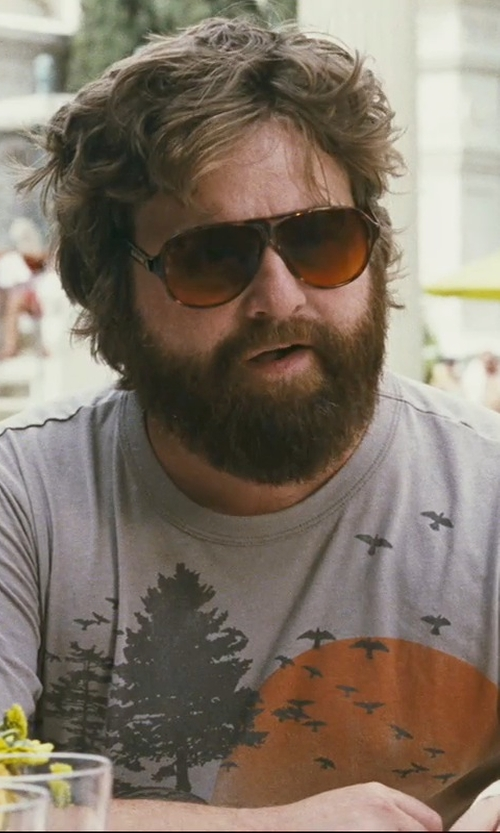 Zach Galifianakis with Blublocker Demi-Tortoise 2725k Original Aviator Sunglasses in The Hangover