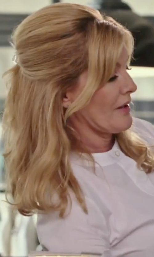 Rene Russo with Marco Bicego Delicate Diamond Stud Earrings in The Intern