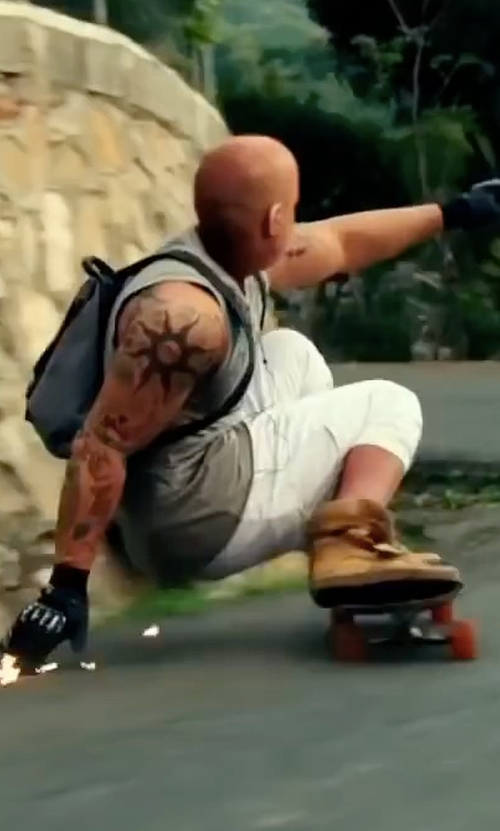 Vin Diesel with Robin's Jeans Solid Logo Shorts in xXx: Return of Xander Cage