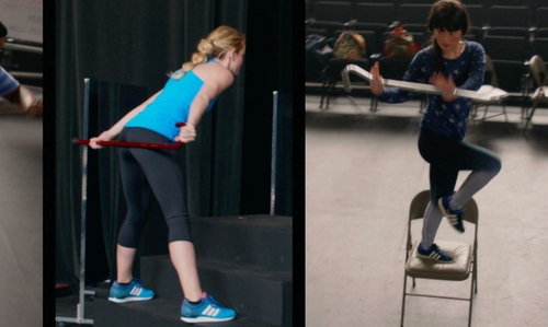 Hana Mae Lee with Nike 'Legend' Dri-Fit Striped Leggings in Pitch Perfect 2