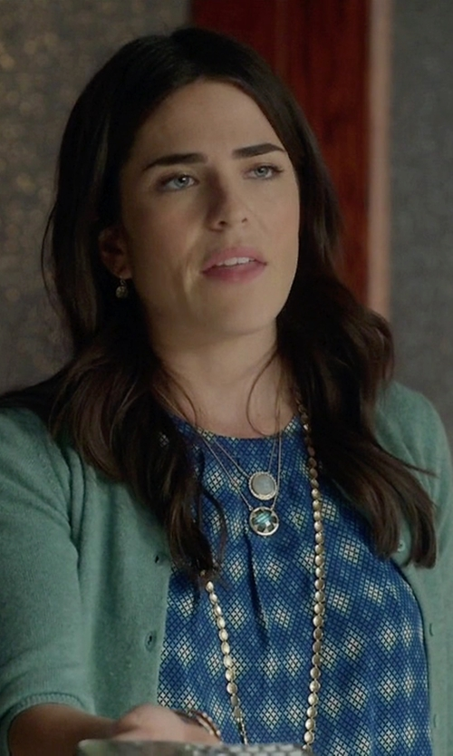 Karla Souza with Yourgreatfinds Aztec Calendar Medallion Necklace in How To Get Away With Murder