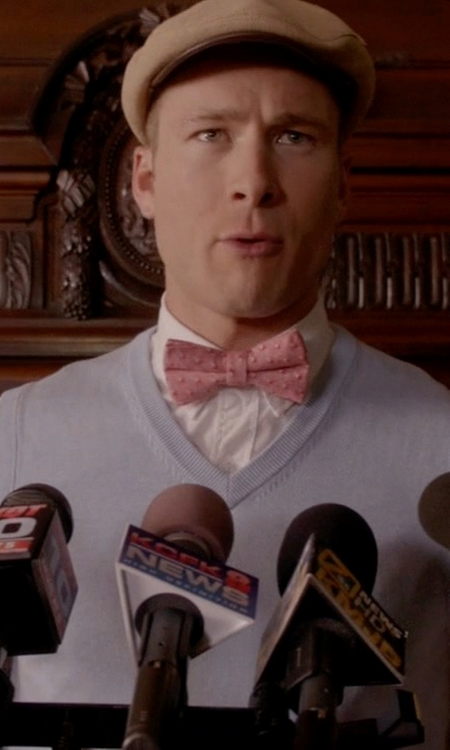 Glen Powell with Brooks Brothers Cashmere Sweater Vest in Scream Queens