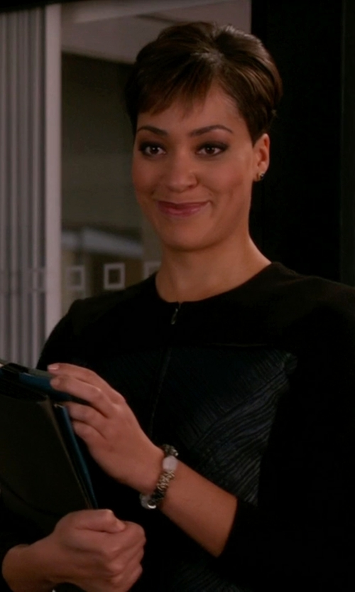 Cush Jumbo with Murmur Fitted Peplum Dress in The Good Wife